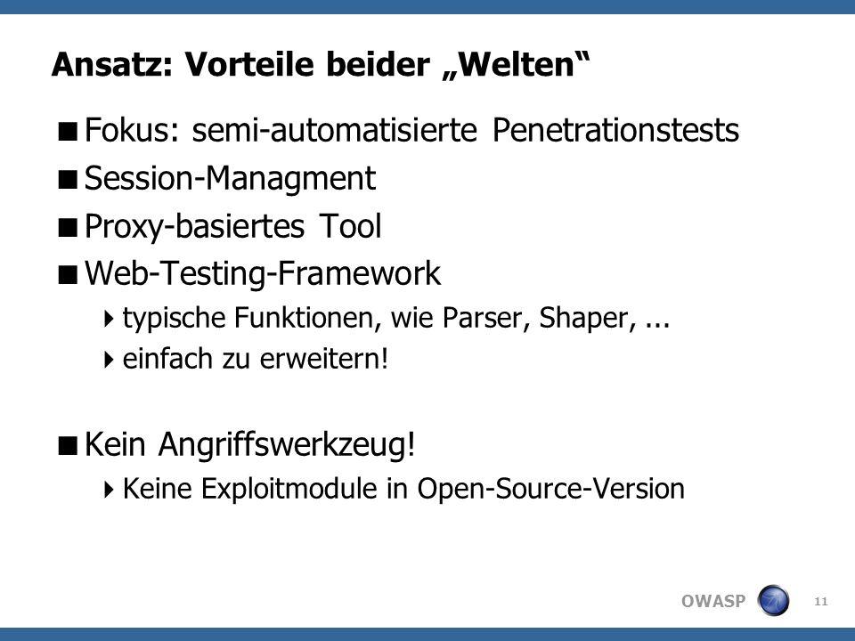 OWASP Ansatz: Vorteile beider Welten Fokus: semi-automatisierte Penetrationstests Session-Managment Proxy-basiertes Tool Web-Testing-Framework typische Funktionen, wie Parser, Shaper,...