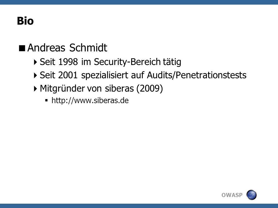 OWASP Komponente: Active Checks Werden über Scanner gesteuert Dienen zum aktiven Testen SQL-Injection XSS...
