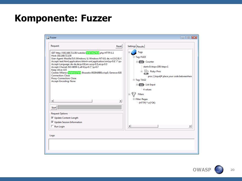 OWASP Komponente: Fuzzer 20