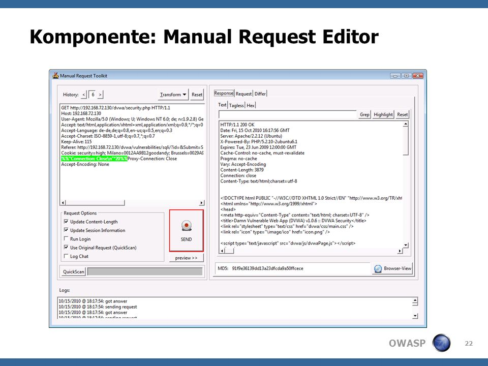 OWASP Komponente: Manual Request Editor 22