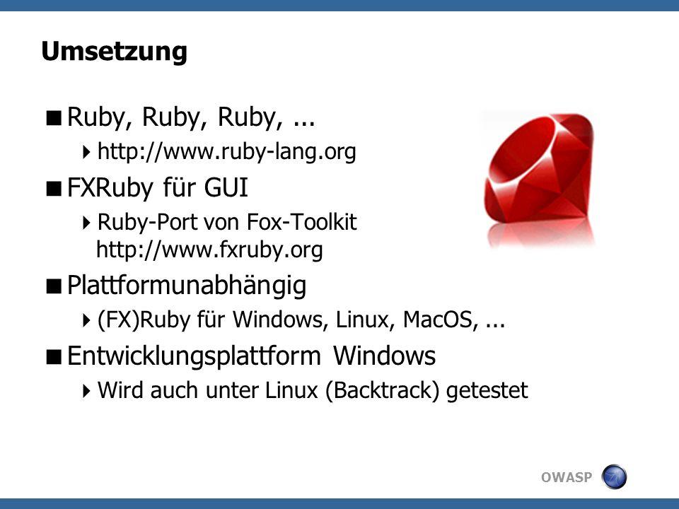 OWASP Umsetzung Ruby, Ruby, Ruby,...