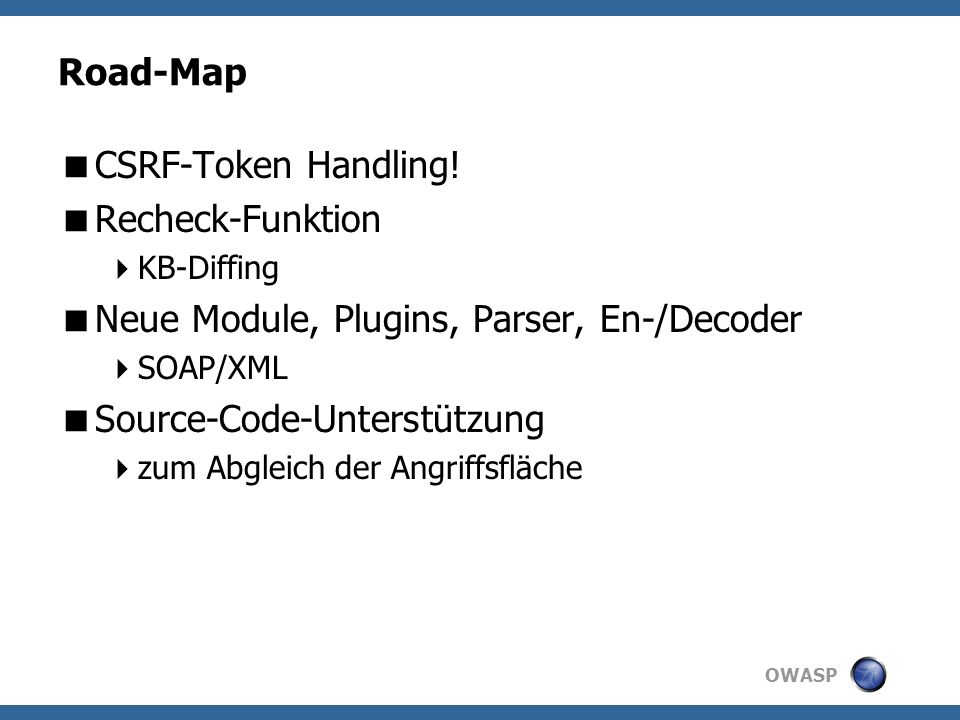 OWASP Road-Map CSRF-Token Handling.