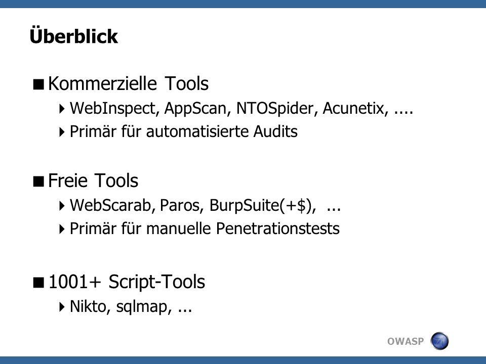 OWASP Komponente: Passive Checks Grep-Style-Checks Pattern-Matching Identifiziert Schwachstellen Z.B.