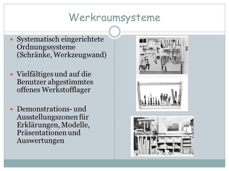 Werkraumsysteme Systematisch eingerichtete Ordnungssysteme (Schränke, Werkzeugwand) Vielfältiges und auf die Benutzer abgestimmtes offenes Werkstoffla