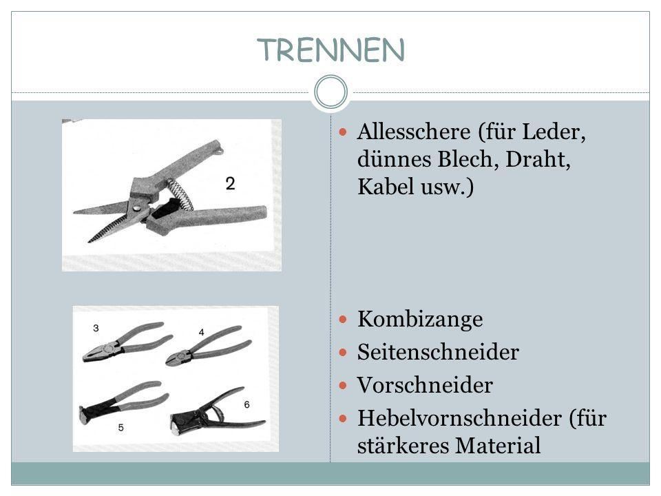 TRENNEN Allesschere (für Leder, dünnes Blech, Draht, Kabel usw.) Kombizange Seitenschneider Vorschneider Hebelvornschneider (für stärkeres Material