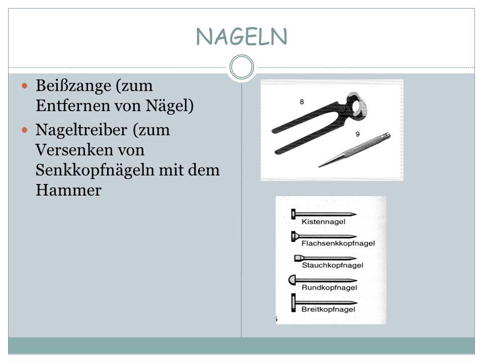 NAGELN Beißzange (zum Entfernen von Nägel) Nageltreiber (zum Versenken von Senkkopfnägeln mit dem Hammer