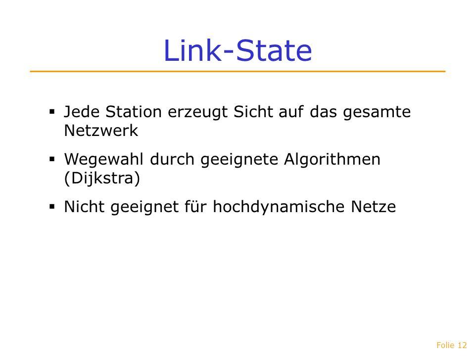 Folie 12 Link-State Jede Station erzeugt Sicht auf das gesamte Netzwerk Wegewahl durch geeignete Algorithmen (Dijkstra) Nicht geeignet für hochdynamis