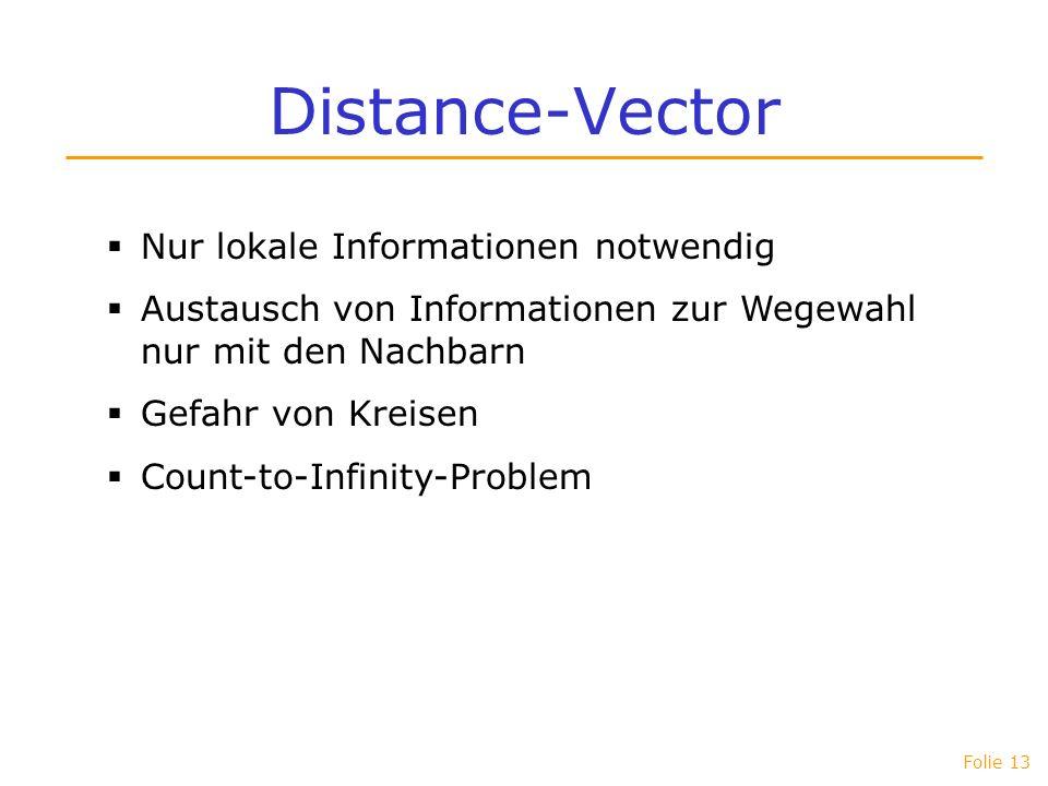 Folie 13 Distance-Vector Nur lokale Informationen notwendig Austausch von Informationen zur Wegewahl nur mit den Nachbarn Gefahr von Kreisen Count-to-