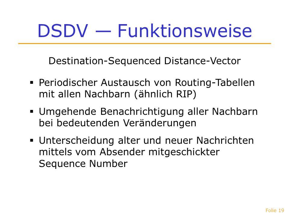 Folie 19 DSDV Funktionsweise Destination-Sequenced Distance-Vector Periodischer Austausch von Routing-Tabellen mit allen Nachbarn (ähnlich RIP) Umgehe