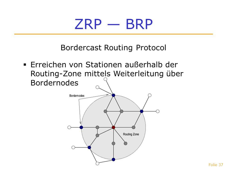Folie 37 ZRP BRP Bordercast Routing Protocol Erreichen von Stationen außerhalb der Routing-Zone mittels Weiterleitung über Bordernodes
