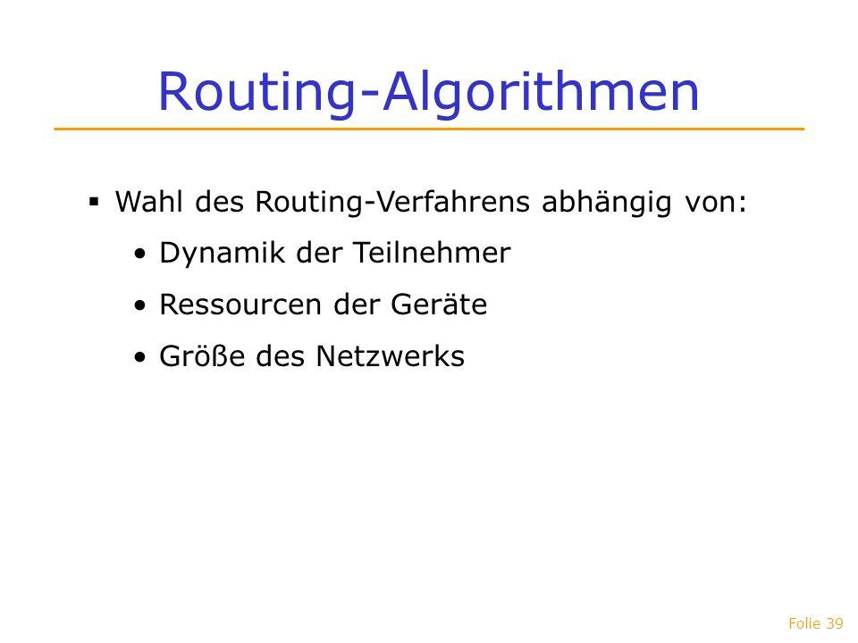 Folie 39 Routing-Algorithmen Wahl des Routing-Verfahrens abhängig von: Dynamik der Teilnehmer Ressourcen der Geräte Größe des Netzwerks
