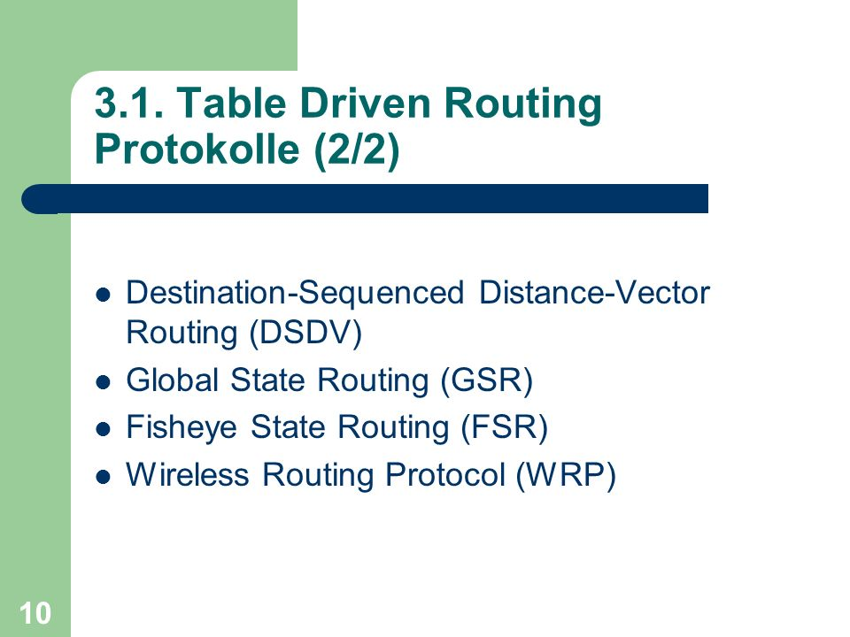 10 3.1. Table Driven Routing Protokolle (2/2) Destination-Sequenced Distance-Vector Routing (DSDV) Global State Routing (GSR) Fisheye State Routing (F
