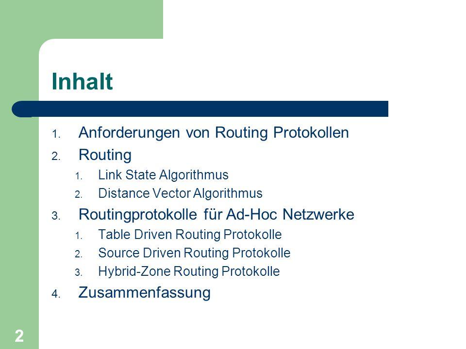 2 Inhalt 1. Anforderungen von Routing Protokollen 2. Routing 1. Link State Algorithmus 2. Distance Vector Algorithmus 3. Routingprotokolle für Ad-Hoc