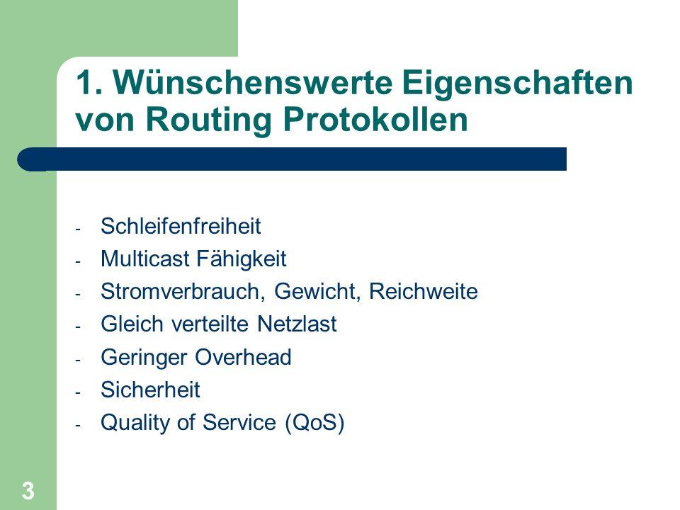 3 1. Wünschenswerte Eigenschaften von Routing Protokollen - Schleifenfreiheit - Multicast Fähigkeit - Stromverbrauch, Gewicht, Reichweite - Gleich ver