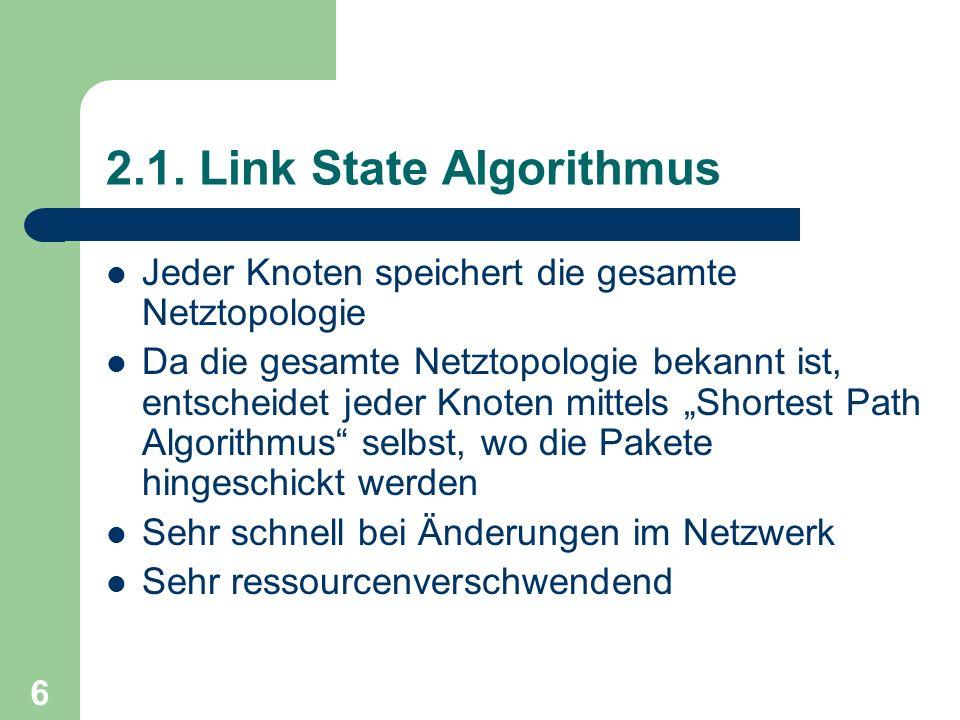 6 2.1. Link State Algorithmus Jeder Knoten speichert die gesamte Netztopologie Da die gesamte Netztopologie bekannt ist, entscheidet jeder Knoten mitt