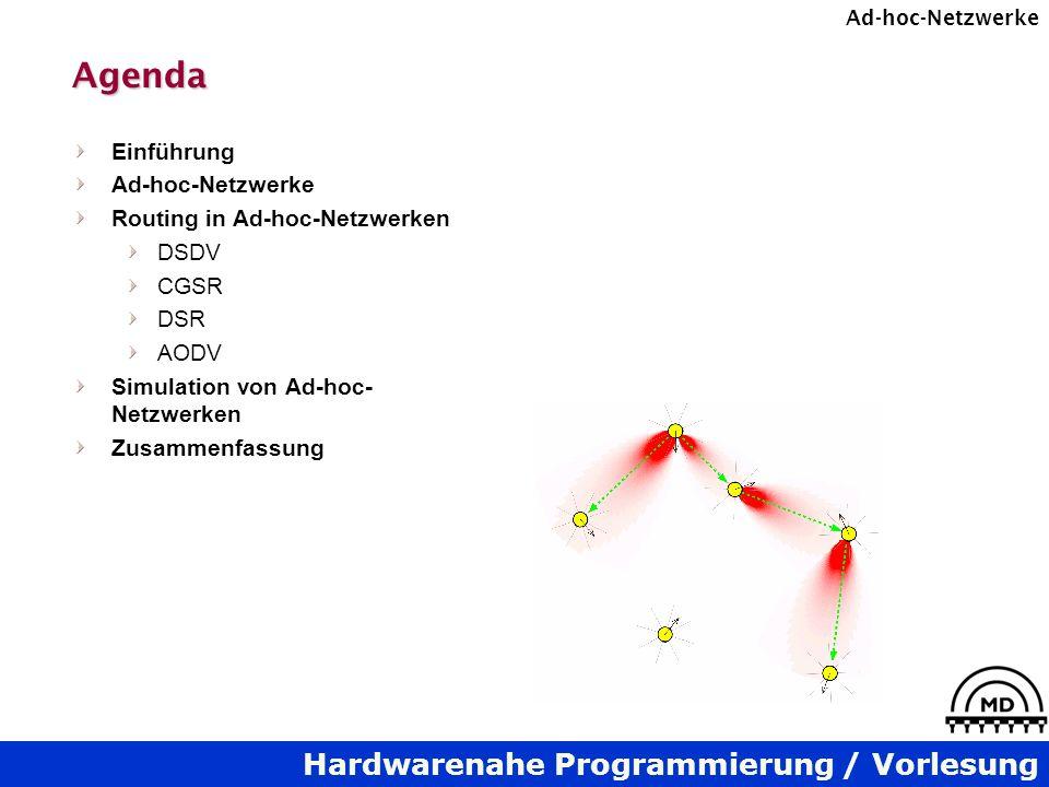 Hardwarenahe Programmierung / Vorlesung Ad-hoc-NetzwerkeAgenda Einführung Ad-hoc-Netzwerke Routing in Ad-hoc-Netzwerken DSDV CGSR DSR AODV Simulation von Ad-hoc- Netzwerken Zusammenfassung