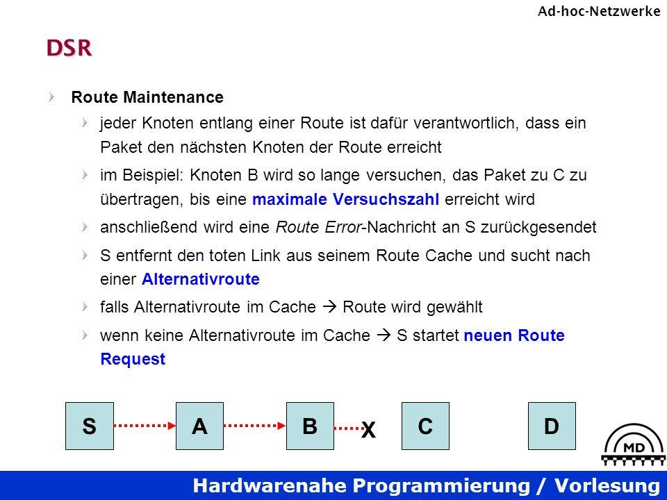 Hardwarenahe Programmierung / Vorlesung Ad-hoc-NetzwerkeDSR Route Maintenance jeder Knoten entlang einer Route ist dafür verantwortlich, dass ein Pake