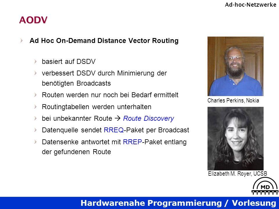 Hardwarenahe Programmierung / Vorlesung Ad-hoc-NetzwerkeAODV Ad Hoc On-Demand Distance Vector Routing basiert auf DSDV verbessert DSDV durch Minimierung der benötigten Broadcasts Routen werden nur noch bei Bedarf ermittelt Routingtabellen werden unterhalten bei unbekannter Route Route Discovery Datenquelle sendet RREQ-Paket per Broadcast Datensenke antwortet mit RREP-Paket entlang der gefundenen Route Charles Perkins, Nokia Elizabeth M.