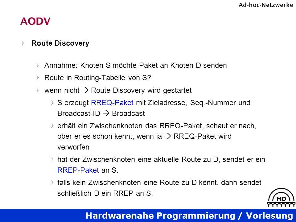 Hardwarenahe Programmierung / Vorlesung Ad-hoc-NetzwerkeAODV Route Discovery Annahme: Knoten S möchte Paket an Knoten D senden Route in Routing-Tabelle von S.