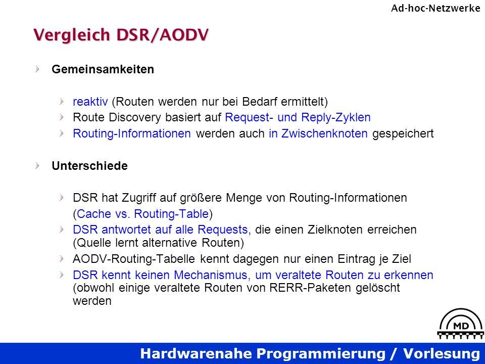 Hardwarenahe Programmierung / Vorlesung Ad-hoc-Netzwerke Vergleich DSR/AODV Gemeinsamkeiten reaktiv (Routen werden nur bei Bedarf ermittelt) Route Discovery basiert auf Request- und Reply-Zyklen Routing-Informationen werden auch in Zwischenknoten gespeichert Unterschiede DSR hat Zugriff auf größere Menge von Routing-Informationen (Cache vs.