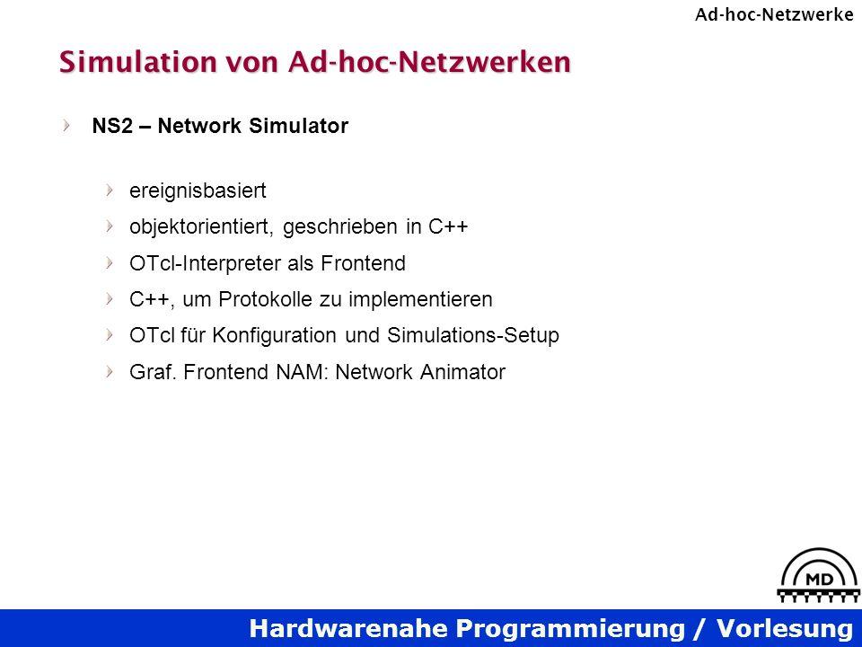 Hardwarenahe Programmierung / Vorlesung Ad-hoc-Netzwerke Simulation von Ad-hoc-Netzwerken NS2 – Network Simulator ereignisbasiert objektorientiert, ge
