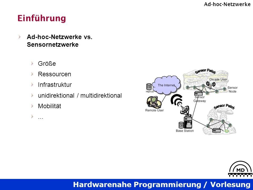 Hardwarenahe Programmierung / Vorlesung Ad-hoc-NetzwerkeDSR Zusätzliche Route-Maintenance-Eigenschaften Paket-Rettung (Packet-Salvaging) rettet Paket, das einen Route-Error verursacht hat Automatische Routen-Kürzung (Route Shortening) unbenötigte Hops können ausgelassen werden Cachen von Negativ-Informationen tote Links werden nicht aus Route-Cache gelöscht, es wird stattdessen ein Hinweis gespeichert, dass der Link z.