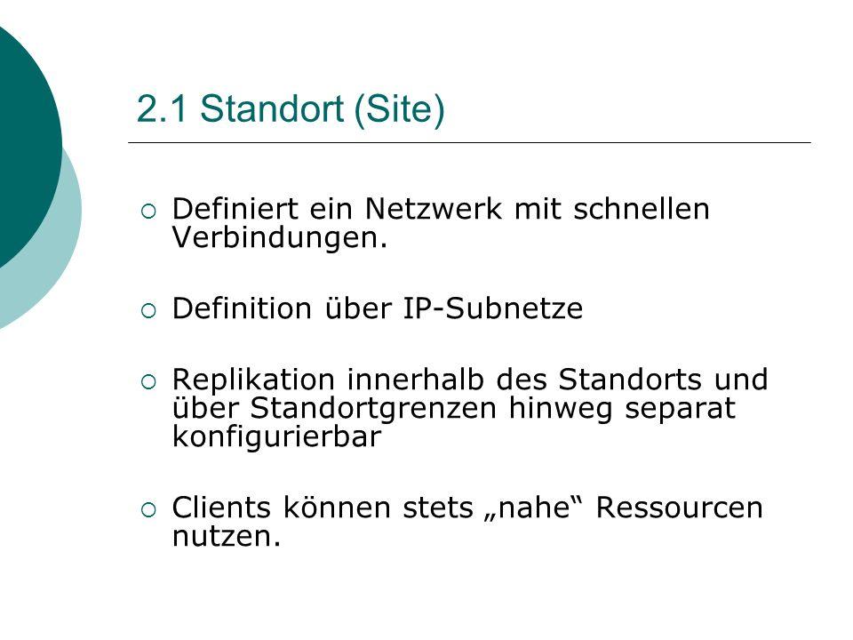 2.1 Standort (Site) Definiert ein Netzwerk mit schnellen Verbindungen. Definition über IP-Subnetze Replikation innerhalb des Standorts und über Stando