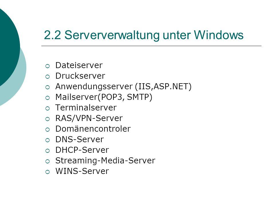 2.2 Serververwaltung unter Windows Dateiserver Druckserver Anwendungsserver (IIS,ASP.NET) Mailserver(POP3, SMTP) Terminalserver RAS/VPN-Server Domänen