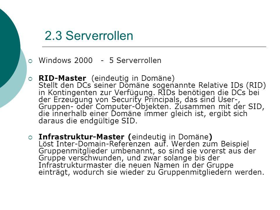 2.3 Serverrollen Windows 2000 - 5 Serverrollen RID-Master (eindeutig in Domäne) Stellt den DCs seiner Domäne sogenannte Relative IDs (RID) in Kontinge