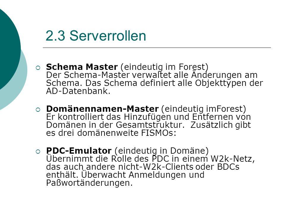 2.3 Serverrollen Schema Master (eindeutig im Forest) Der Schema-Master verwaltet alle Änderungen am Schema. Das Schema definiert alle Objekttypen der