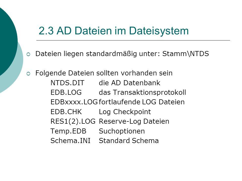 2.3 AD Dateien im Dateisystem Dateien liegen standardmäßig unter: Stamm\NTDS Folgende Dateien sollten vorhanden sein NTDS.DITdie AD Datenbank EDB.LOGd