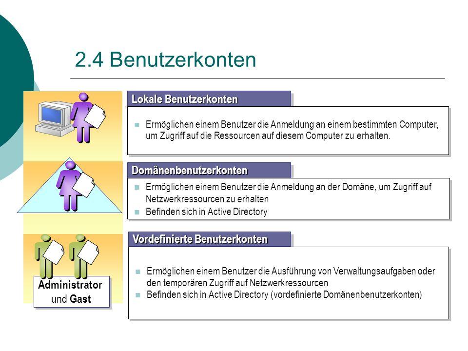 2.4 Benutzerkonten Domänenbenutzerkonten Ermöglichen einem Benutzer die Anmeldung an der Domäne, um Zugriff auf Netzwerkressourcen zu erhalten Befinde