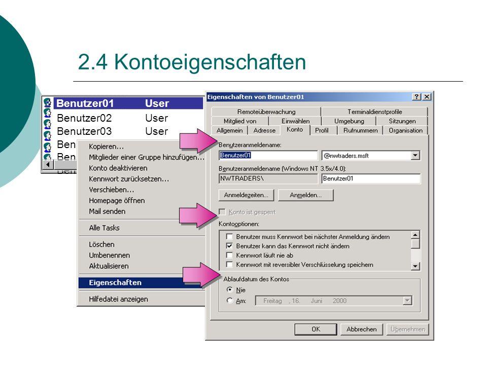2.4 Kontoeigenschaften Benutzer02 User Benutzer03User Benutzer04User Benutzer05User Benutzer06User Benutzer01 User