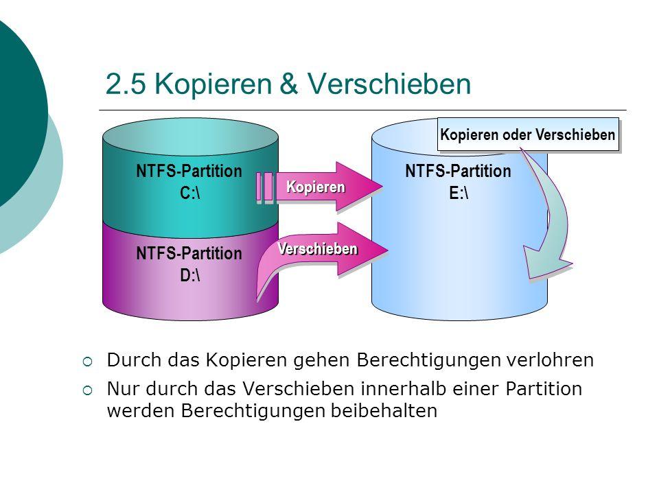 2.5 Kopieren & Verschieben Durch das Kopieren gehen Berechtigungen verlohren Nur durch das Verschieben innerhalb einer Partition werden Berechtigungen