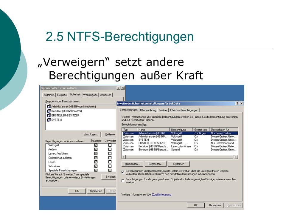 2.5 NTFS-Berechtigungen Verweigern setzt andere Berechtigungen außer Kraft