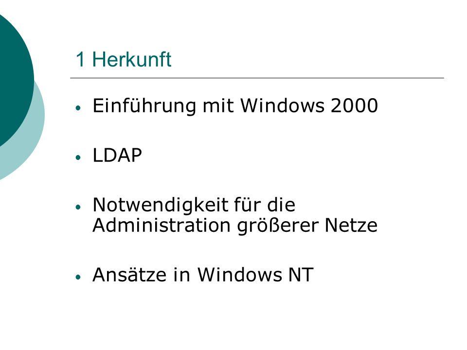 1 Herkunft Einführung mit Windows 2000 LDAP Notwendigkeit für die Administration größerer Netze Ansätze in Windows NT