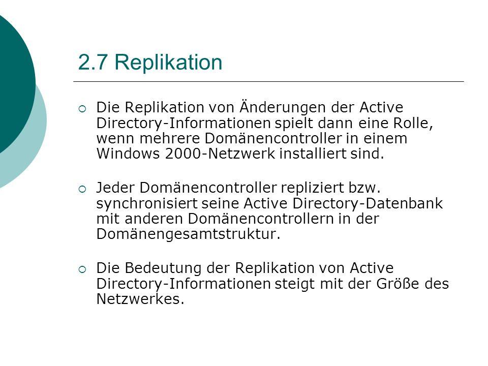 2.7 Replikation Die Replikation von Änderungen der Active Directory-Informationen spielt dann eine Rolle, wenn mehrere Domänencontroller in einem Wind