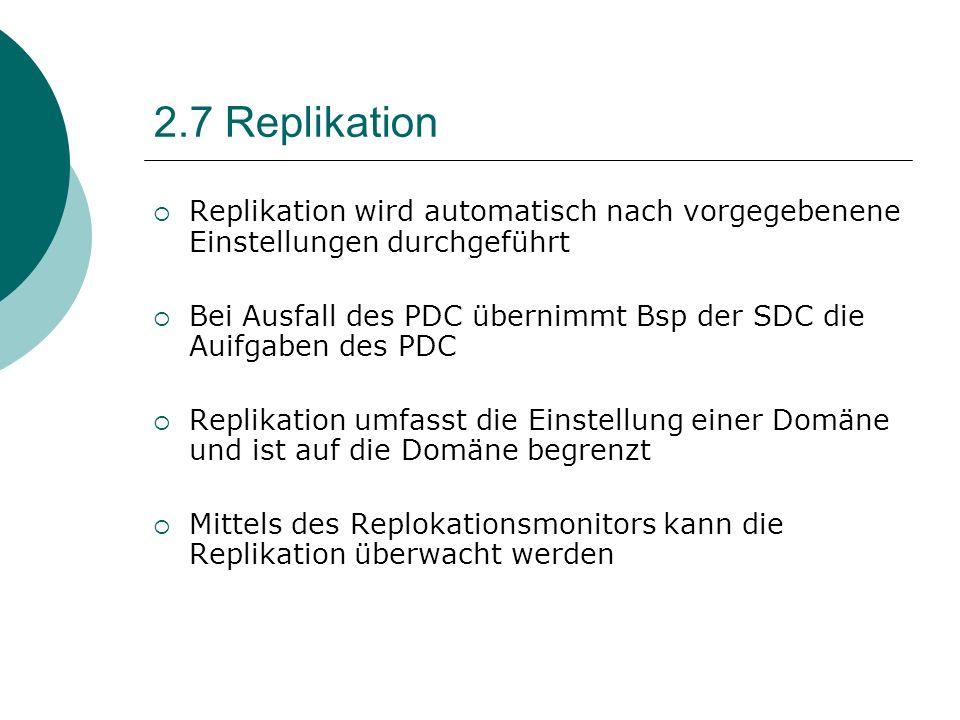 2.7 Replikation Replikation wird automatisch nach vorgegebenene Einstellungen durchgeführt Bei Ausfall des PDC übernimmt Bsp der SDC die Auifgaben des