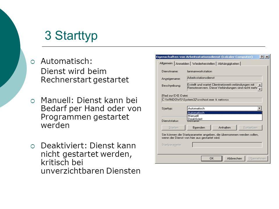 3 Starttyp Automatisch: Dienst wird beim Rechnerstart gestartet Manuell: Dienst kann bei Bedarf per Hand oder von Programmen gestartet werden Deaktivi
