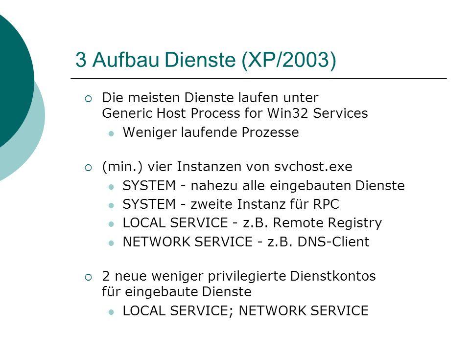 3 Aufbau Dienste (XP/2003) Die meisten Dienste laufen unter Generic Host Process for Win32 Services Weniger laufende Prozesse (min.) vier Instanzen vo
