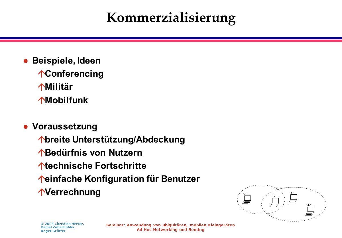 © 2004 Christian Herter, Daniel Zuberbühler, Roger Grütter Seminar: Anwendung von ubiquitären, mobilen Kleingeräten Ad Hoc Networking und Routing Komm