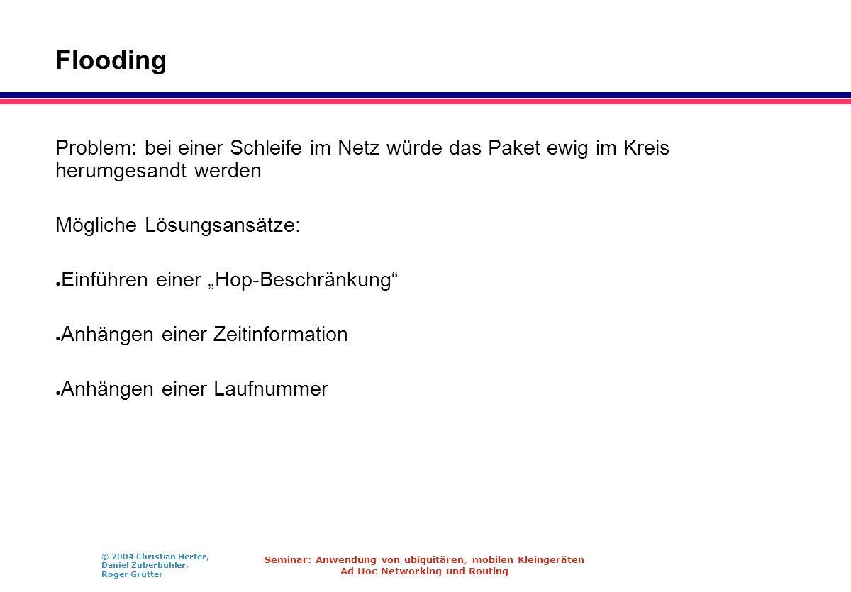 © 2004 Christian Herter, Daniel Zuberbühler, Roger Grütter Seminar: Anwendung von ubiquitären, mobilen Kleingeräten Ad Hoc Networking und Routing Floo