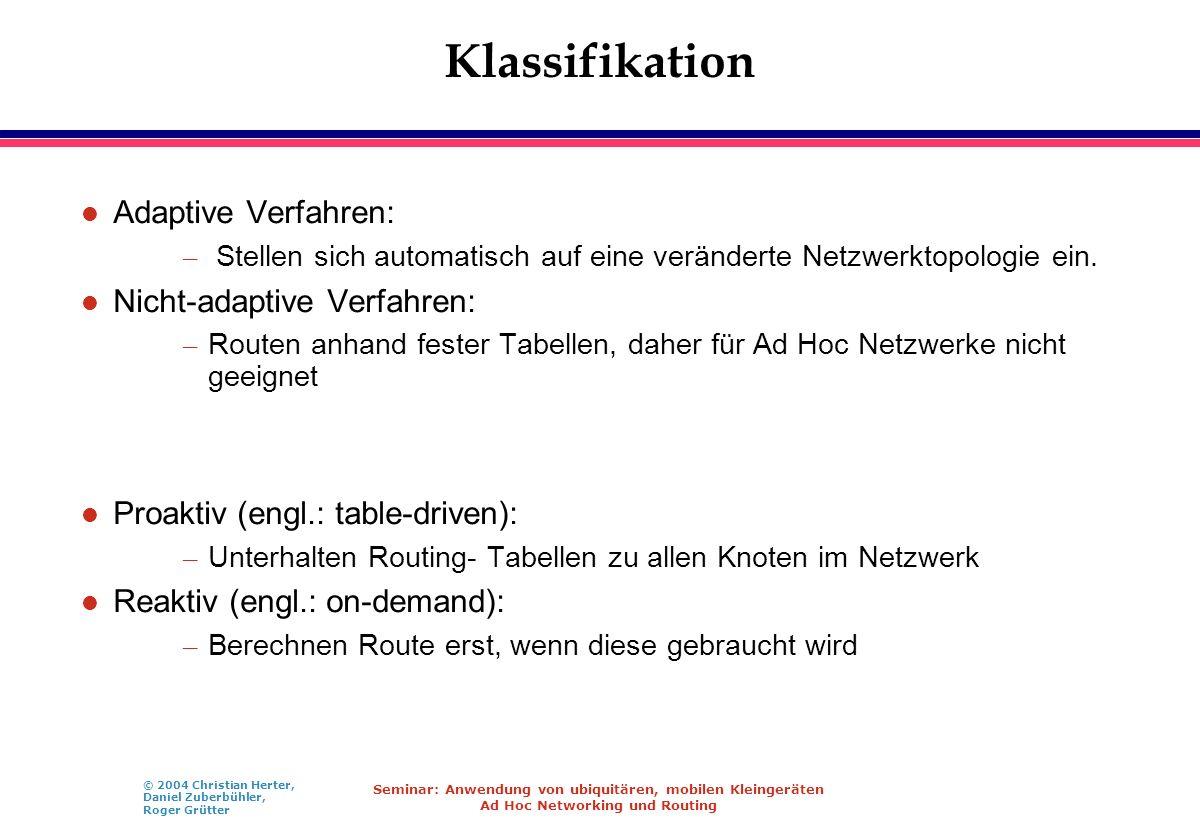 © 2004 Christian Herter, Daniel Zuberbühler, Roger Grütter Seminar: Anwendung von ubiquitären, mobilen Kleingeräten Ad Hoc Networking und Routing Klas