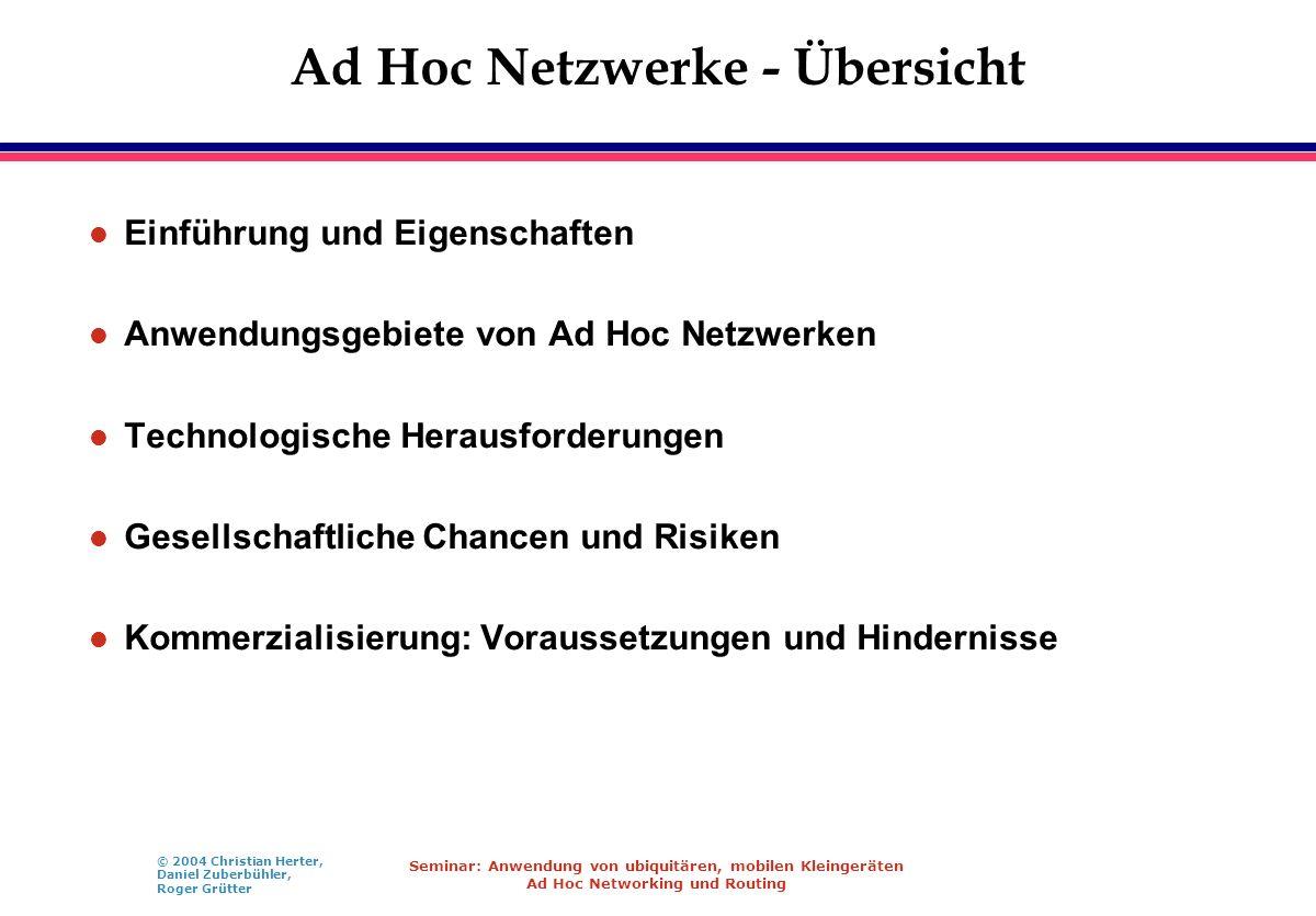 © 2004 Christian Herter, Daniel Zuberbühler, Roger Grütter Seminar: Anwendung von ubiquitären, mobilen Kleingeräten Ad Hoc Networking und Routing Ad H