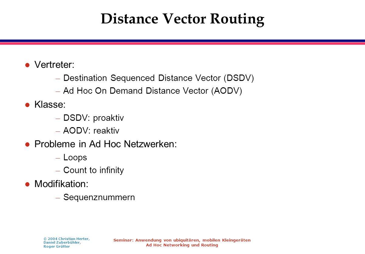 © 2004 Christian Herter, Daniel Zuberbühler, Roger Grütter Seminar: Anwendung von ubiquitären, mobilen Kleingeräten Ad Hoc Networking und Routing Dist