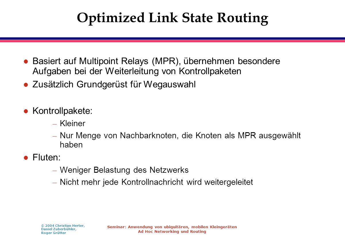 © 2004 Christian Herter, Daniel Zuberbühler, Roger Grütter Seminar: Anwendung von ubiquitären, mobilen Kleingeräten Ad Hoc Networking und Routing Opti