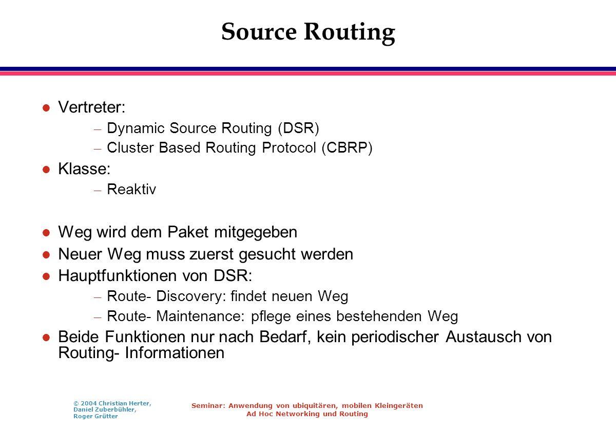 © 2004 Christian Herter, Daniel Zuberbühler, Roger Grütter Seminar: Anwendung von ubiquitären, mobilen Kleingeräten Ad Hoc Networking und Routing Sour