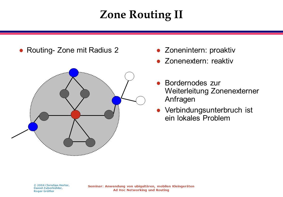 © 2004 Christian Herter, Daniel Zuberbühler, Roger Grütter Seminar: Anwendung von ubiquitären, mobilen Kleingeräten Ad Hoc Networking und Routing Zone