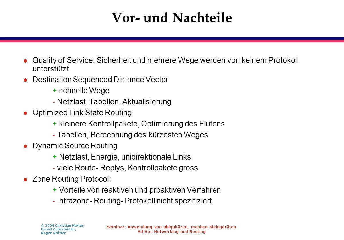 © 2004 Christian Herter, Daniel Zuberbühler, Roger Grütter Seminar: Anwendung von ubiquitären, mobilen Kleingeräten Ad Hoc Networking und Routing Vor-