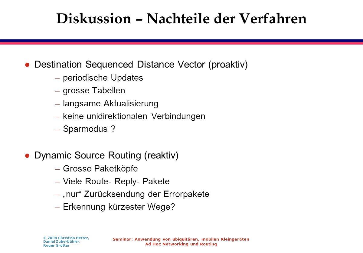 © 2004 Christian Herter, Daniel Zuberbühler, Roger Grütter Seminar: Anwendung von ubiquitären, mobilen Kleingeräten Ad Hoc Networking und Routing Disk